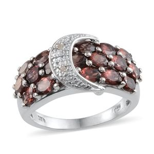 Umba River Zircon, Diamond Platinum Over Sterling Silver Ring (Size 7) TDiaWt 0.01 cts, TGW 5.350 cts.