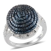 Blue Diamond (IR), Diamond Platinum Over Sterling Silver Ring (Size 7.0) TDiaWt 0.25 cts, TGW 0.250 cts.