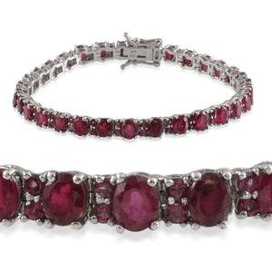 Niassa Ruby, Orissa Rhodolite Garnet Platinum Over Sterling Silver Bracelet (7.50 In) TGW 16.120 cts.