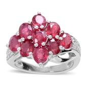 Niassa Ruby, Diamond Sterling Silver Ring (Size 6) TGW 5.02 cts.