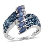 Kanchanaburi Blue Sapphire, Blue Diamond Platinum Over Sterling Silver Ring (Size 7) TDiaWt 0.03 cts, TGW 1.590 cts.