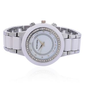 STRADA Austrian Crystal Japanese Movement Watch with White Chroma and Stainless Steel Back