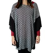 Black and White Checks Pattern 100% Polyester Poncho