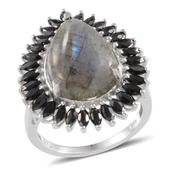 Madagascar Labradorite, Thai Black Spinel Platinum Over Sterling Silver Sophisticated Ring (Size 10.0) TGW 13.700 cts.