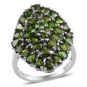 Russian Diopside Platinum Over Sterling Silver Ring (Size 8.0) TGW 7.300 cts.