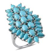 Arizona Sleeping Beauty Turquoise Platinum Over Sterling Silver Ring (Size 7.0) TGW 7.020 cts.