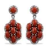 Mediterranean Coral, Diamond Platinum Over Sterling Silver Earrings TDiaWt 0.01 cts, TGW 7.630 cts.