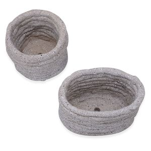 Set of 2 Beige Pottery Planters (4, 6 in)
