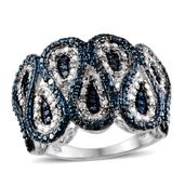 Blue Diamond (IR), Diamond Platinum Over Sterling Silver Ring (Size 8.0) TDiaWt 0.33 cts, TGW 0.330 cts.