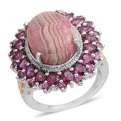 Argentinian Rhodochrosite, Orissa Rhodolite Garnet 14K YG and Platinum Over Sterling Silver Ring (Size 9.0) TGW 16.850 cts.