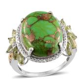 Mojave Green Turquoise, Hebei Peridot, Diamond 14K YG and Platinum Over Sterling Silver Ring (Size 7.0) TDiaWt 0.02 cts, TGW 14.370 cts.