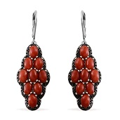 Mediterranean Coral, Black Diamond Platinum Over Sterling Silver Lever Back Earrings TDiaWt 0.020Cts., TGW 7.95 Cts.