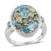 Multi Color Apatite, Diamond Platinum Over Sterling Silver Ring (Size 7) TDiaWt 0.01 cts, TGW 3.540 cts.