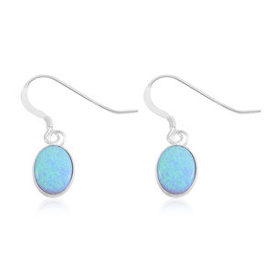 Lab Created Opal Sterling Silver Earrings TGW 4.75 cts.