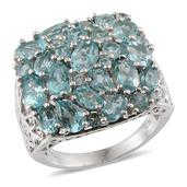 Madagascar Paraiba Apatite Platinum Over Sterling Silver Ring (Size 9.0) TGW 7.820 cts.