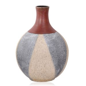 Gray and Cream Ceramic Decorative Vase (13 in)