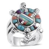 Santa Fe Style Turquoise, Mojave Purple Turquoise, Spiny Oyster Shell Red, Lab Created Opal Sterling Silver Ring (Size 6.0) TGW 1.90 cts.