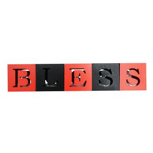 Wooden BLESS Red and Black with LED Light