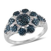 Blue Diamond, Diamond (Rnd) Ring in Platinum Overlay Sterling Silver Nickel Free (Size 8) TDiaWt 0.200Cts., TGW 0.20 Cts.
