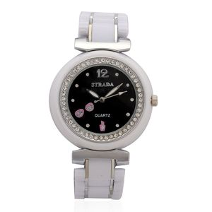 STRADA White Austrian Crystal Japanese Movement Watch with Black Dial and Stainless Steel Back