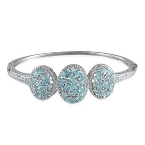 Madagascar Paraiba Apatite, Diamond Platinum Over Sterling Silver Bangle (7.5 in) TDiaWt 0.030Cts., TGW 9.38 Cts.