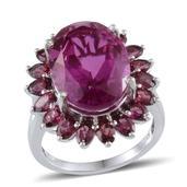 Radiant Orchid Quartz, Orissa Rhodolite Garnet Platinum Over Sterling Silver Ring (Size 8.0) TGW 18.850 cts.