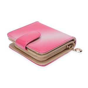 Pink Ombre Faux Patent Leather Button Booklet Zipper Ladies Wallet (4.5x1x4 in)