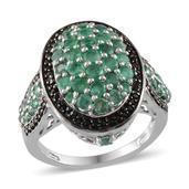 Kagem Zambian Emerald, Thai Black Spinel Platinum Over Sterling Silver Ring (Size 8.0) TGW 3.580 cts.