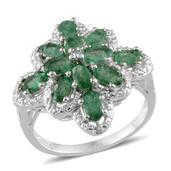 Kagem Zambian Emerald, Diamond Platinum Over Sterling Silver Ring (Size 9.0) TDiaWt 0.01 cts, TGW 3.110 cts.