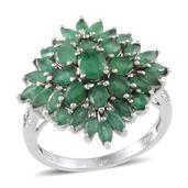 Kagem Zambian Emerald, Diamond Platinum Over Sterling Silver Ring (Size 8.0) TDiaWt 0.01 cts, TGW 3.590 cts.