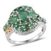 Kagem Zambian Emerald, Diamond 14K YG and Platinum Over Sterling Silver Ring (Size 9.0) TDiaWt 0.02 cts, TGW 3.325 cts.