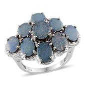 Australian Boulder Opal, Catalina Iolite Platinum Over Sterling Silver Clustered Ring (Size 7.0) TGW 8.750 cts.