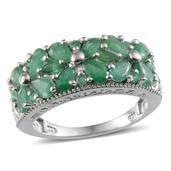 Kagem Zambian Emerald Platinum Over Sterling Silver Ring (Size 9.0) TGW 3.540 cts.