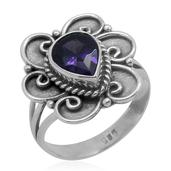 Bali Legacy Collection Simulated Purple Diamond (Pear) Ring in Sterling Silver Nickel Free (Size 7) TGW 1.83 cts.