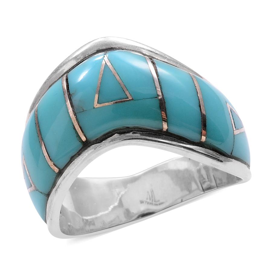 Santa Fe Style Turquoise Sterling Silver Ring (Size 9.0) TGW 4.150 cts.