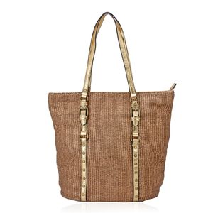 Golden Woven Faux Leather Tote (12x6x14 in)