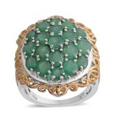 Kagem Zambian Emerald, Diamond 14K YG and Platinum Over Sterling Silver Ring (Size 8.0) TDiaWt 0.02 cts, TGW 6.560 cts.