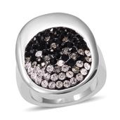 Black and White Austrian Crystal Stainless Steel Ring (Size 7.0)