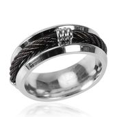 ION Plated Black and Stainless Steel Ring (Size 6.0)