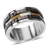 ION Plated YG, Black and Stainless Steel Spinner Ring (Size 6.0)