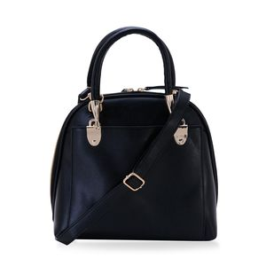 J Francis - Black Faux Leather Handbag (10x4x10 in)