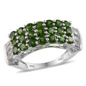 Russian Diopside, White Topaz Platinum Over Sterling Silver Ring (Size 9.0) TGW 3.700 cts.