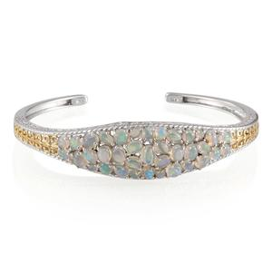 Ethiopian Welo Opal, Thai Black Spinel 14K YG and Platinum Over Sterling Silver Cuff TGW 7.19 Cts.