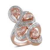 Marropino Morganite, Diamond 14K RG Over Sterling Silver Ring (Size 7.0) TDiaWt 0.02 cts, TGW 3.376 cts.