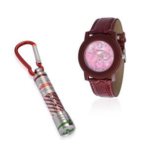STRADA Japanese Movement Watch with Marsala Band and Flash Light Set