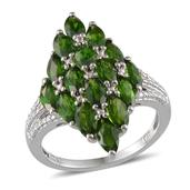 Russian Diopside Platinum Over Sterling Silver Ring (Size 9.0) TGW 5.250 cts.