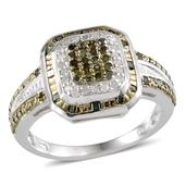 Green Diamond (IR), Diamond Platinum Over Sterling Silver Ring (Size 6.0) TDiaWt 0.50 cts, TGW 0.500 cts.