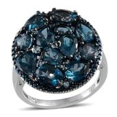 London Blue Topaz, Electric Blue Topaz, Blue Diamond Platinum Over Sterling Silver Ring (Size 8.0) TDiaWt 0.01 cts, TGW 9.110 cts.