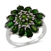 Russian Diopside Platinum Over Sterling Silver Ring (Size 9.0) TGW 5.190 cts.