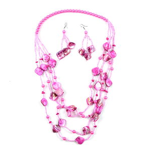 Simulated Pink Pearl, Shell, Seed Bead Stainless Steel Earrings and Necklace (26 in)